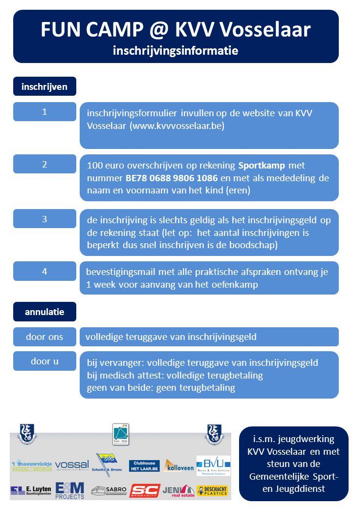 FUN CAMP @ KVV Vosselaar inschrijvingsinformatie inschrijven 1 inschrijvingsformulier invullen op de website van KVV Vosselaar (www.kvvvosselaar.be) 2 100 euro overschrijven op rekening Sportkamp met nummer BE78 0688 9806 1086 en met als mededeling de naam en voornaam van het kind (eren) 3 de inschrijving is slechts geldig als het inschrijvingsgeld op de rekening staat (let op: het aantal inschrijvingen is beperkt dus snel inschrijven is de boodschap) 4 bevestigingsmail met alle praktische afspraken ontvang je 1 week voor aanvang van het oefenkamp annulatie door onsvolledige teruggave van inschrijvingsgeld door u bij vervanger: volledige teruggave van inschrijvingsgeld bij medisch attest: volledige terugbetaling geen van beide: geen terugbetaling i.s.m.