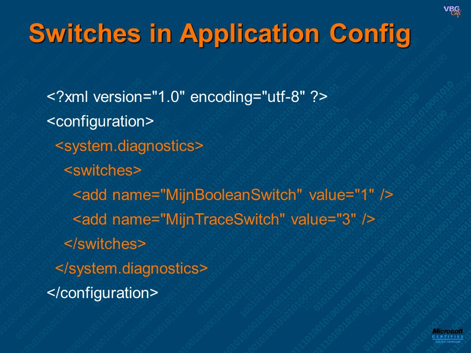 Switches in Application Config
