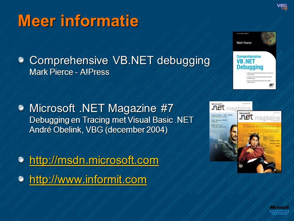 Meer informatie Comprehensive VB.NET debugging Mark Pierce - A!Press Microsoft.NET Magazine #7 Debugging en Tracing met Visual Basic.NET André Obelink, VBG (december 2004) http://msdn.microsoft.com http://www.informit.com