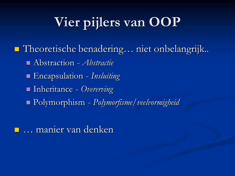 Vier pijlers van OOP Theoretische benadering… niet onbelangrijk..