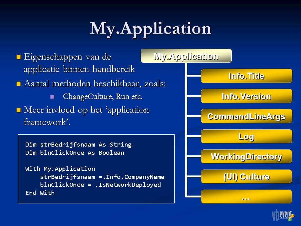 My.Application Eigenschappen van de applicatie binnen handbereik Eigenschappen van de applicatie binnen handbereik Aantal methoden beschikbaar, zoals: Aantal methoden beschikbaar, zoals: ChangeCulture, Run etc.