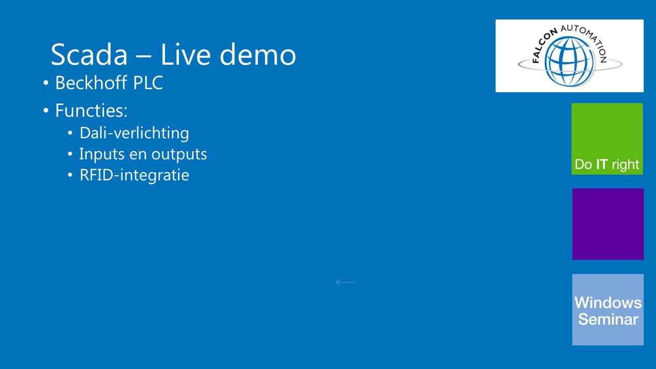 Scada – Live demo Beckhoff PLC Functies: Dali-verlichting Inputs en outputs RFID-integratie