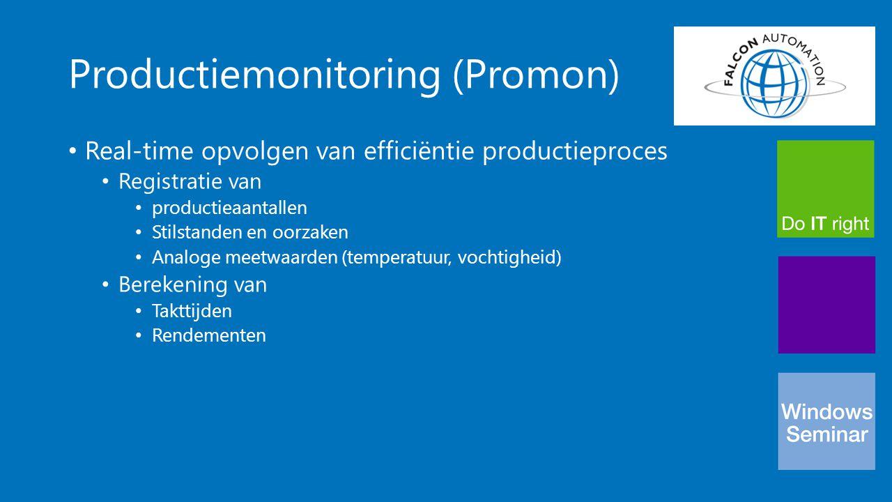 Productiemonitoring (Promon) Real-time opvolgen van efficiëntie productieproces Registratie van productieaantallen Stilstanden en oorzaken Analoge mee
