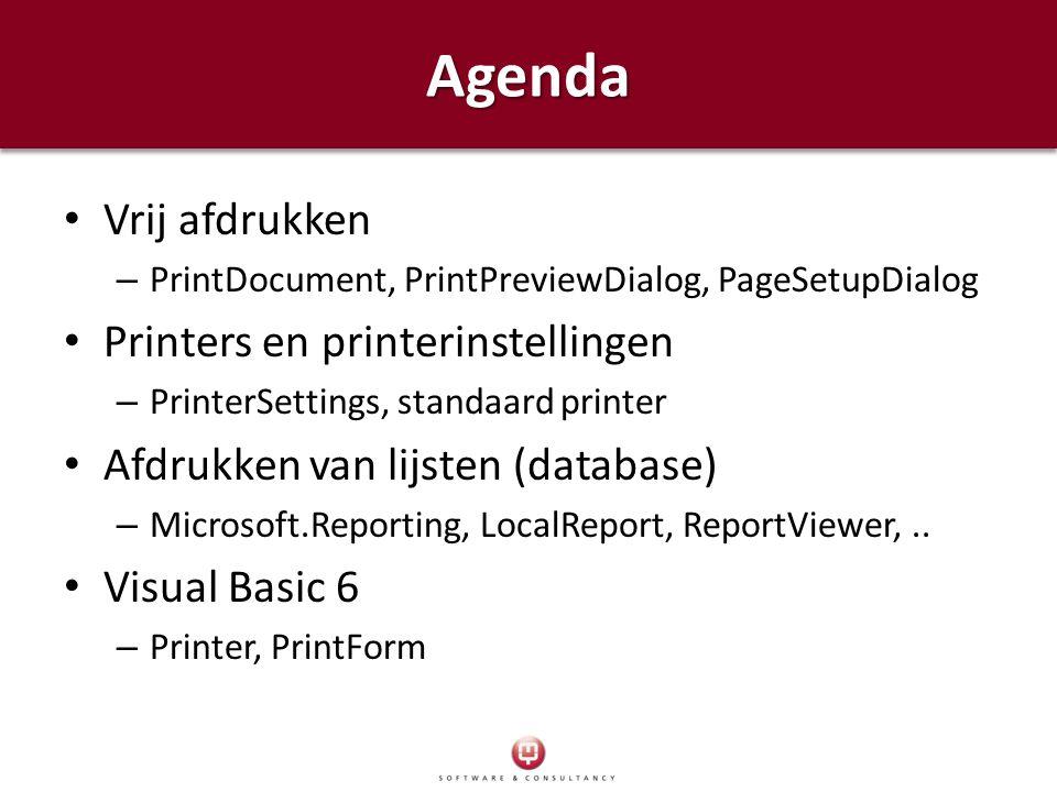 Vrij afdrukken – PrintDocument, PrintPreviewDialog, PageSetupDialog Printers en printerinstellingen – PrinterSettings, standaard printer Afdrukken van