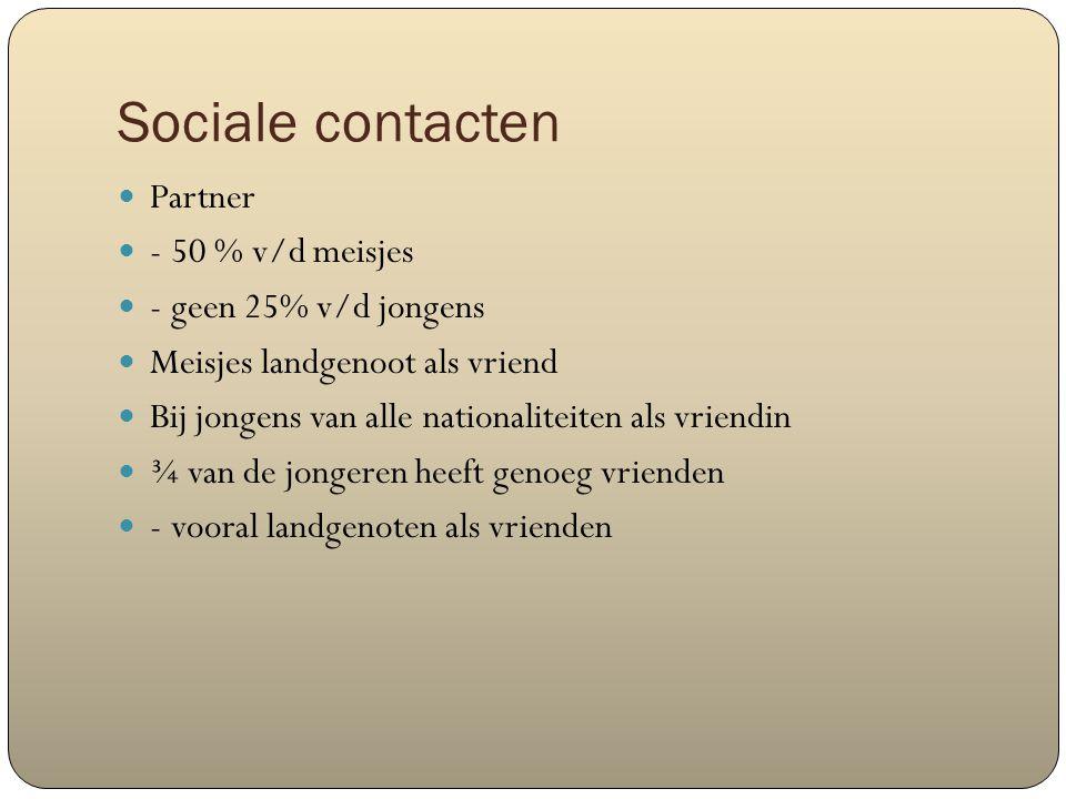 Sociale contacten Partner - 50 % v/d meisjes - geen 25% v/d jongens Meisjes landgenoot als vriend Bij jongens van alle nationaliteiten als vriendin ¾ van de jongeren heeft genoeg vrienden - vooral landgenoten als vrienden