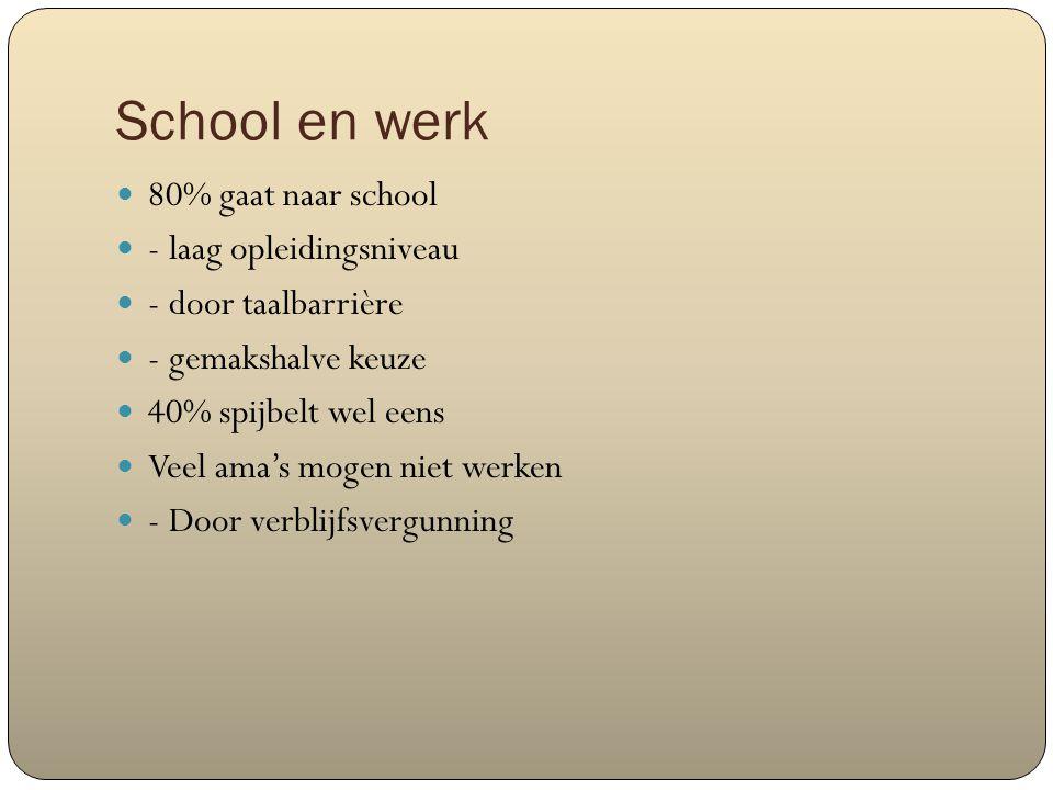 School en werk 80% gaat naar school - laag opleidingsniveau - door taalbarrière - gemakshalve keuze 40% spijbelt wel eens Veel ama's mogen niet werken