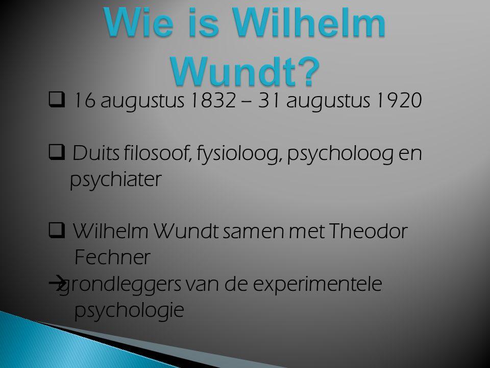  Wie is Wilhelm Wundt?  Wetenschappelijk werk  Instituut voor experimentele psychologie  Scheppende synthese  Belangrijke werken