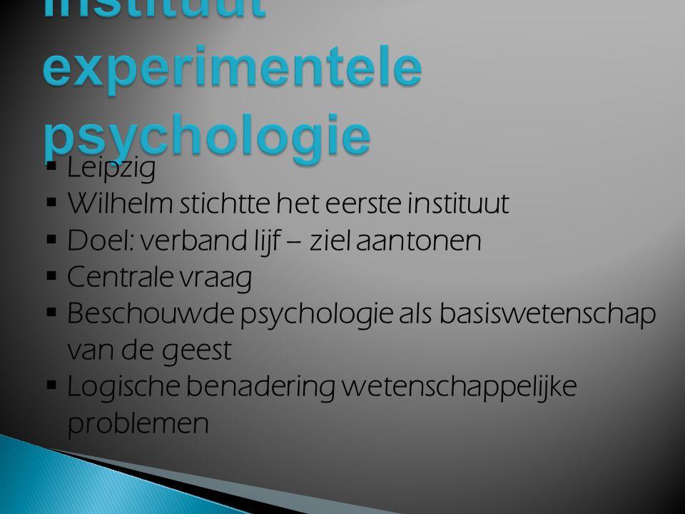  Opkomst functionalisme en behaviorisme (VS)  Opkomst Gestalltpsychologie en psychoanalyse  Belang nam af  verdedigde standpunt fel (Über den wahr