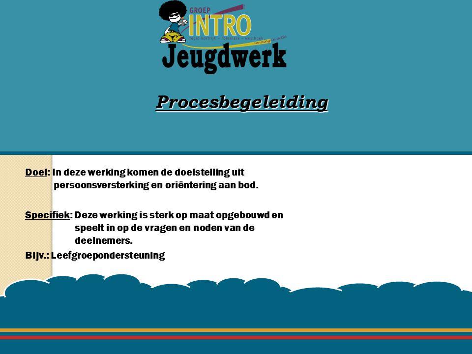 Procesbegeleiding Doel: In deze werking komen de doelstelling uit persoonsversterking en oriëntering aan bod.