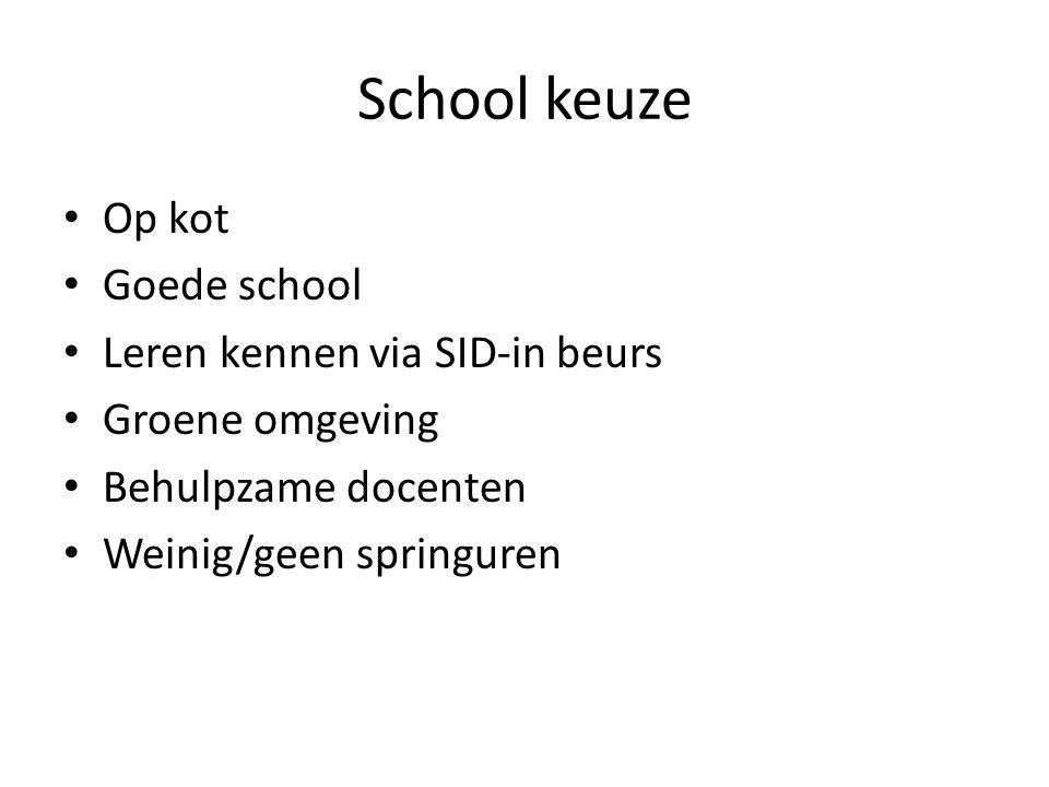 School keuze Op kot Goede school Leren kennen via SID-in beurs Groene omgeving Behulpzame docenten Weinig/geen springuren