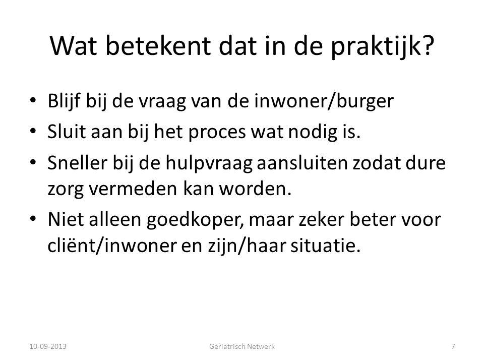 10-09-2013Geriatrisch Netwerk8 Radius is aanwezig in dorpen en wijken in Boxmeer, Cuijk, Grave, Mill & St.