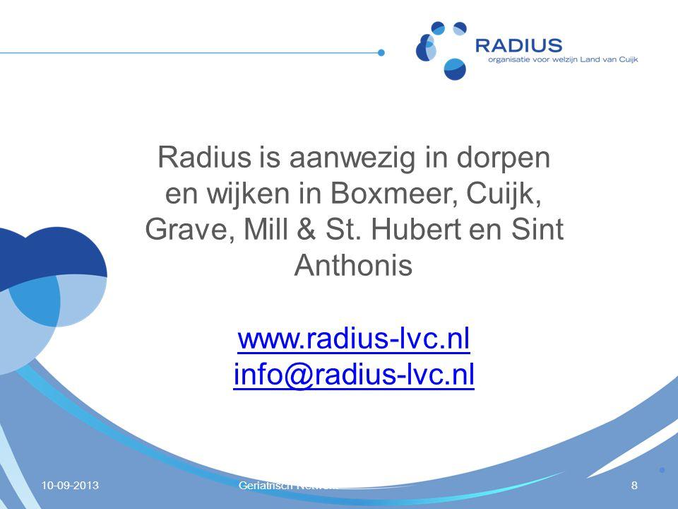 10-09-2013Geriatrisch Netwerk8 Radius is aanwezig in dorpen en wijken in Boxmeer, Cuijk, Grave, Mill & St. Hubert en Sint Anthonis www.radius-lvc.nl i