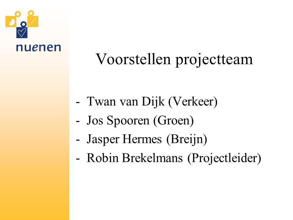 Voorstellen projectteam -Twan van Dijk (Verkeer) -Jos Spooren (Groen) -Jasper Hermes (Breijn) -Robin Brekelmans (Projectleider)