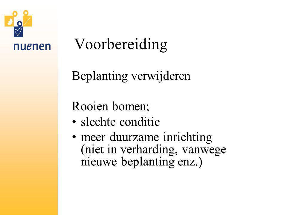 Voorbereiding Beplanting verwijderen Rooien bomen; slechte conditie meer duurzame inrichting (niet in verharding, vanwege nieuwe beplanting enz.)