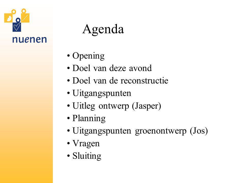 Agenda Opening Doel van deze avond Doel van de reconstructie Uitgangspunten Uitleg ontwerp (Jasper) Planning Uitgangspunten groenontwerp (Jos) Vragen