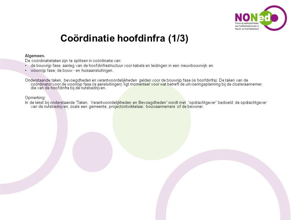 Coördinatie hoofdinfra (1/3) Algemeen. De coördinatietaken zijn te splitsen in coördinatie van: de bouwrijp fase; aanleg van de hoofdinfrastructuur vo