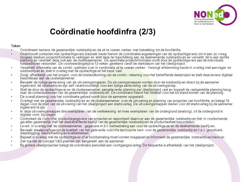 Coördinatie hoofdinfra (2/3) Taken Coördineert namens de gezamenlijke nutsbedrijven de uit te voeren werken met betrekking tot de hoofdinfra. Onderhou