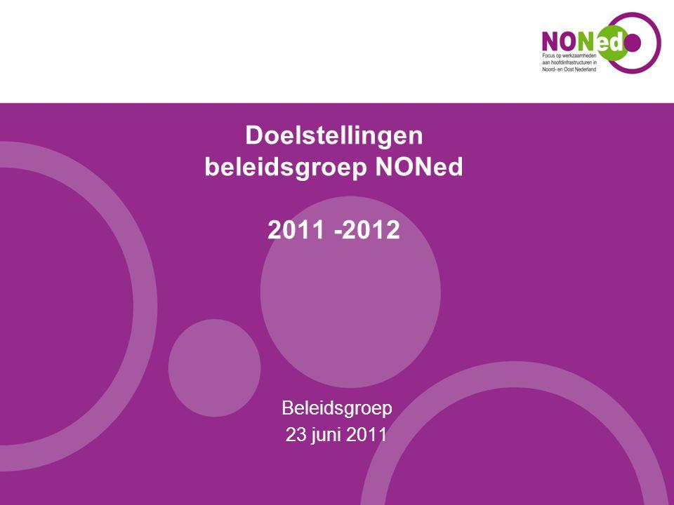 Lijst van doelstellingen 1.Op 31 december 2011 weten alle gemeenten en provincies in NONed-gebied wat NONed is, en wat zij doet.