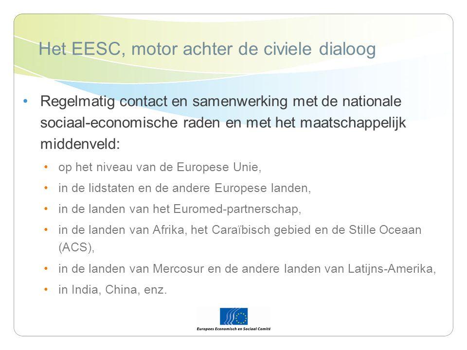 Het EESC, motor achter de civiele dialoog Regelmatig contact en samenwerking met de nationale sociaal-economische raden en met het maatschappelijk middenveld: op het niveau van de Europese Unie, in de lidstaten en de andere Europese landen, in de landen van het Euromed-partnerschap, in de landen van Afrika, het Caraïbisch gebied en de Stille Oceaan (ACS), in de landen van Mercosur en de andere landen van Latijns-Amerika, in India, China, enz.