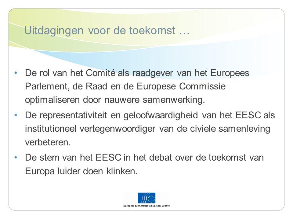 Uitdagingen voor de toekomst … De rol van het Comité als raadgever van het Europees Parlement, de Raad en de Europese Commissie optimaliseren door nauwere samenwerking.
