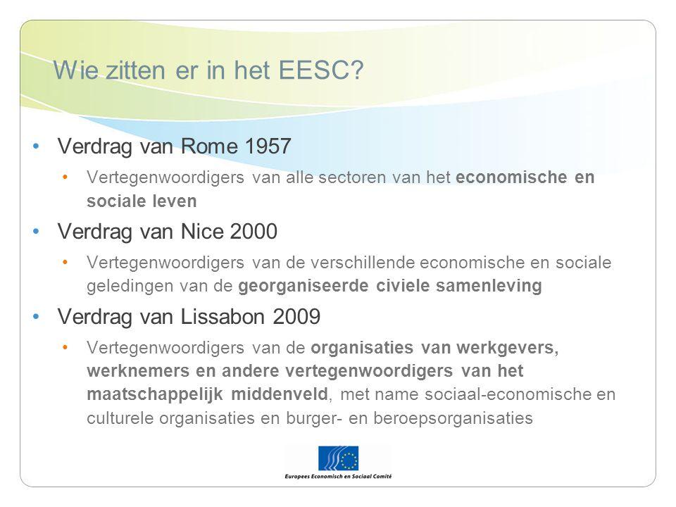 De leden van het EESC Vergadering van 344 leden afkomstig uit de 27 lidstaten van de EU Leden worden voor 5 jaar benoemd en zijn hernoembaar Leden worden op voordracht van de lidstaten benoemd door de Raad
