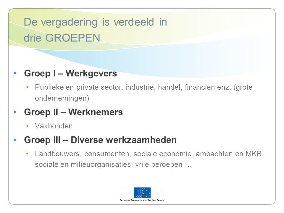 De vergadering is verdeeld in drie GROEPEN Groep I – Werkgevers Publieke en private sector: industrie, handel, financiën enz.