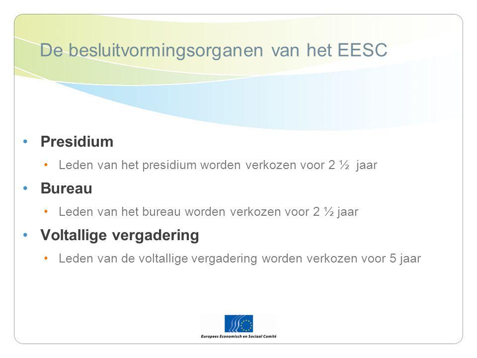 De besluitvormingsorganen van het EESC Presidium Leden van het presidium worden verkozen voor 2 ½ jaar Bureau Leden van het bureau worden verkozen voor 2 ½ jaar Voltallige vergadering Leden van de voltallige vergadering worden verkozen voor 5 jaar