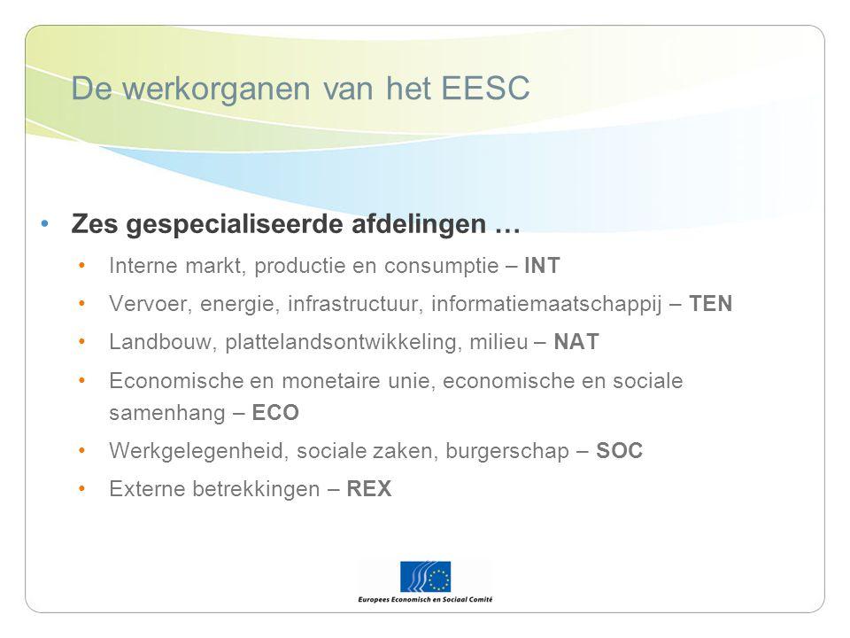 De werkorganen van het EESC Zes gespecialiseerde afdelingen … Interne markt, productie en consumptie – INT Vervoer, energie, infrastructuur, informatiemaatschappij – TEN Landbouw, plattelandsontwikkeling, milieu – NAT Economische en monetaire unie, economische en sociale samenhang – ECO Werkgelegenheid, sociale zaken, burgerschap – SOC Externe betrekkingen – REX