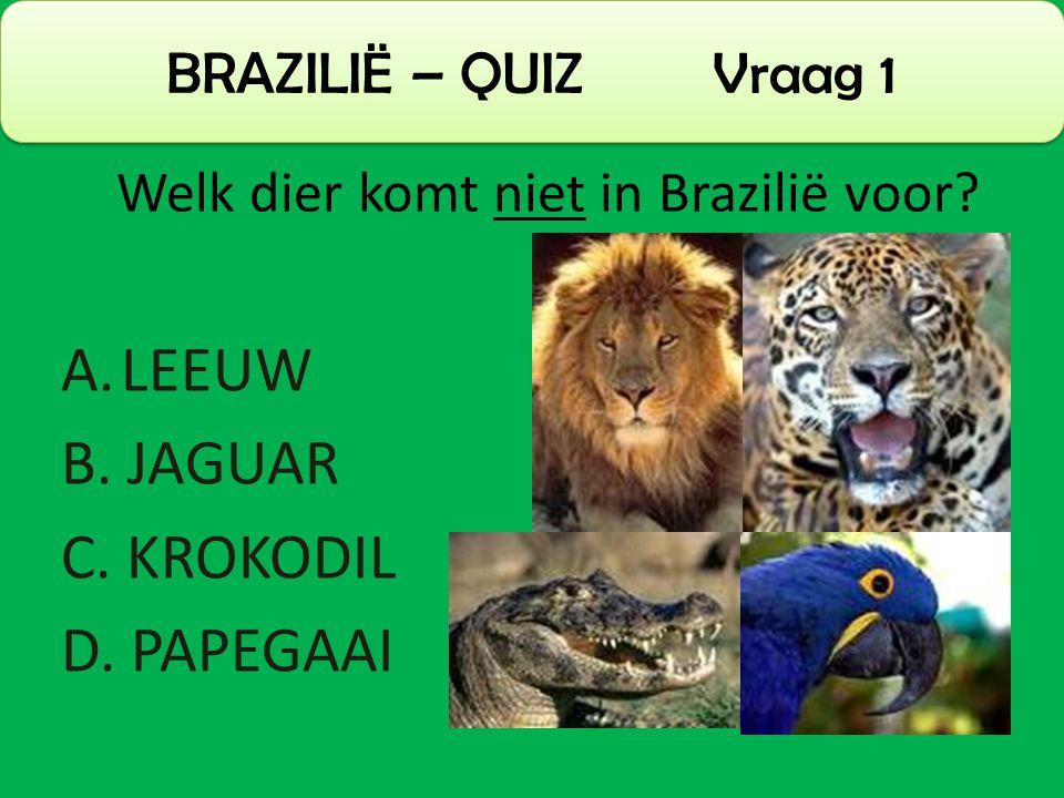 A.LEEUW B. JAGUAR C. KROKODIL D. PAPEGAAI BRAZILIË – QUIZ Vraag 1 Welk dier komt niet in Brazilië voor?