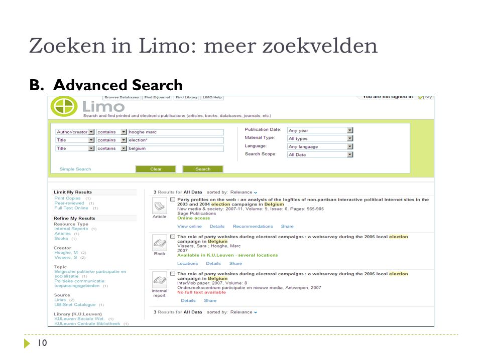 Zoeken in Limo: meer zoekvelden 10 B.Advanced Search 10