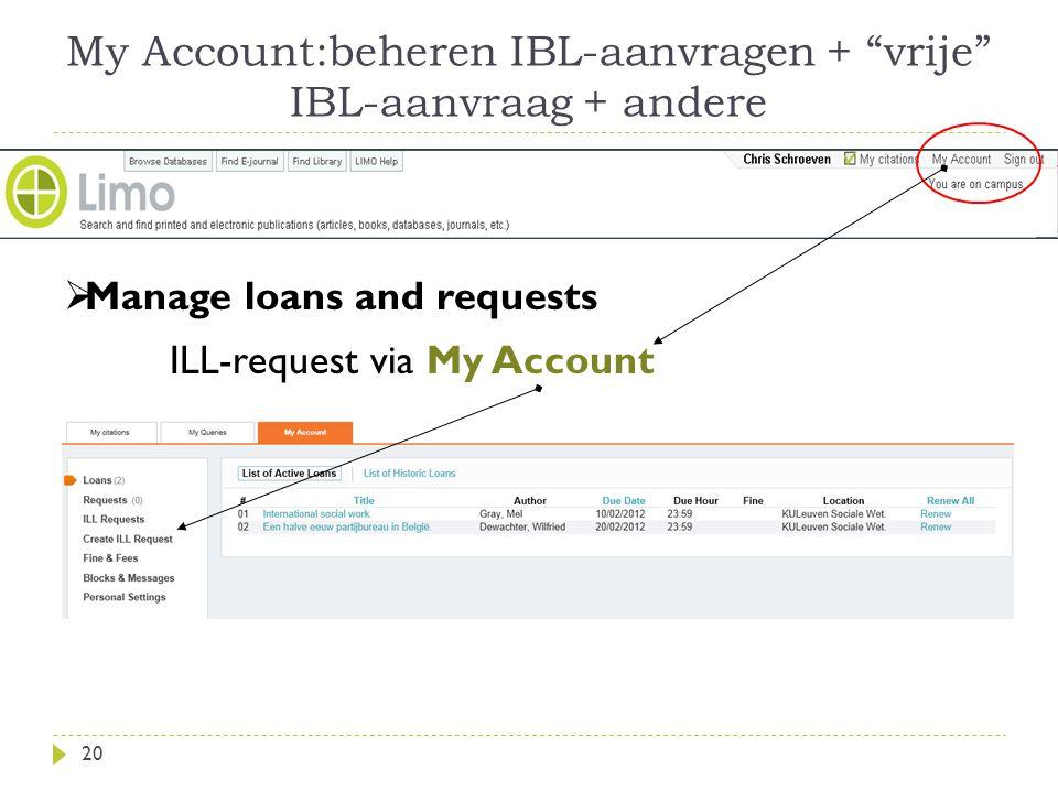My Account:beheren IBL-aanvragen + vrije IBL-aanvraag + andere 20  Manage loans and requests ILL-request via My Account