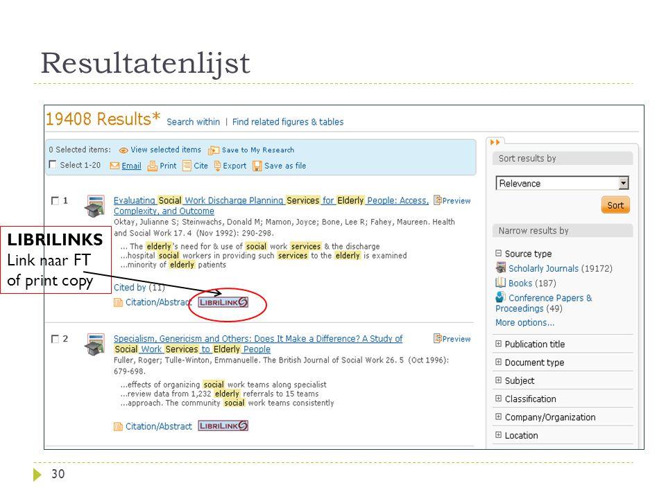 Resultatenlijst 30 LIBRILINKS Link naar FT of print copy