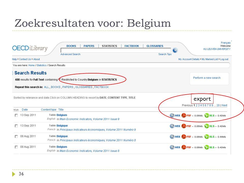 Zoekresultaten voor: Belgium 36 export