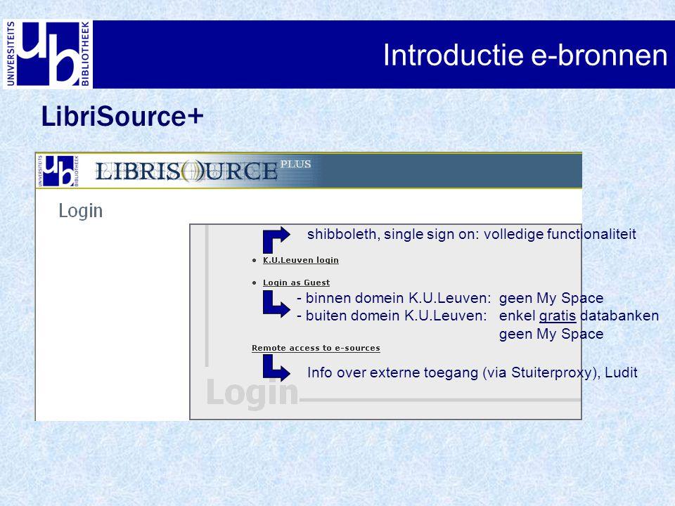 Introductie e-bronnen LibriSource+ shibboleth, single sign on: volledige functionaliteit - binnen domein K.U.Leuven: geen My Space - buiten domein K.U