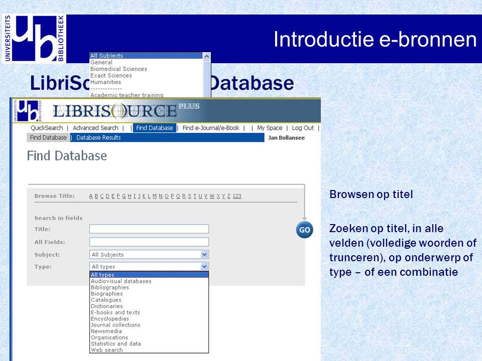 LibriSource+ - Find Database Browsen op titel Zoeken op titel, in alle velden (volledige woorden of trunceren), op onderwerp of type – of een combinat