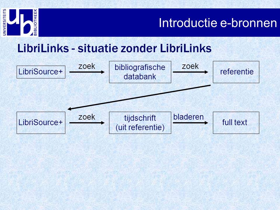 Introductie e-bronnen LibriLinks - situatie zonder LibriLinks LibriSource+ bibliografische databank referentie zoek LibriSource+ tijdschrift (uit refe
