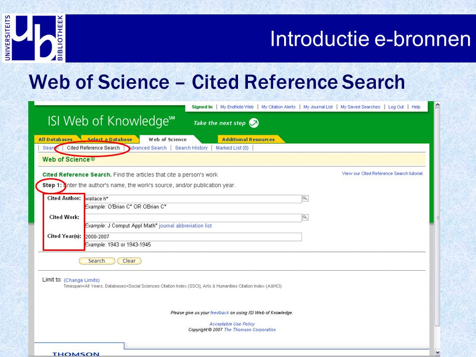 Introductie e-bronnen Web of Science – Cited Reference Search