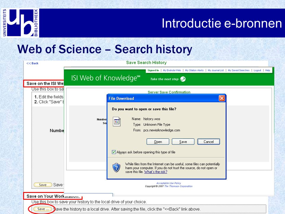 Introductie e-bronnen Web of Science – Search history