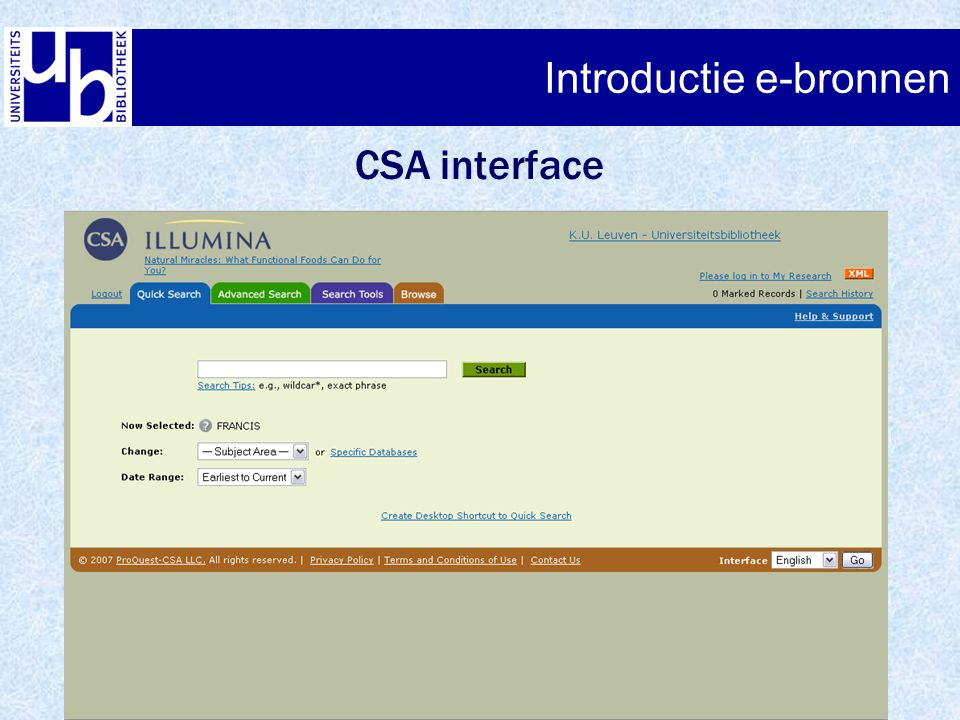 Introductie e-bronnen CSA interface