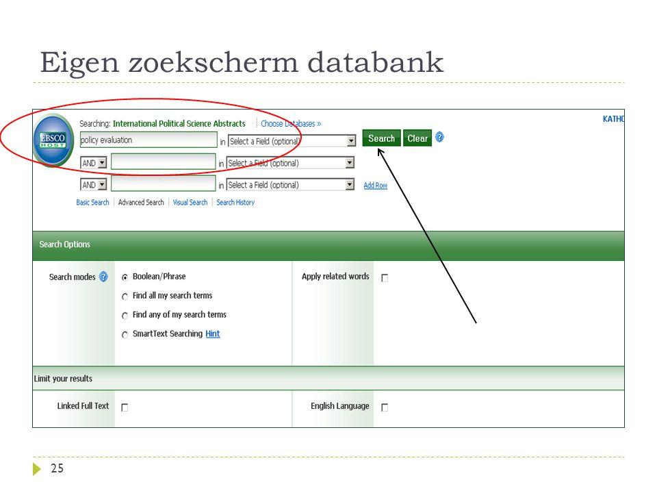 Eigen zoekscherm databank 25