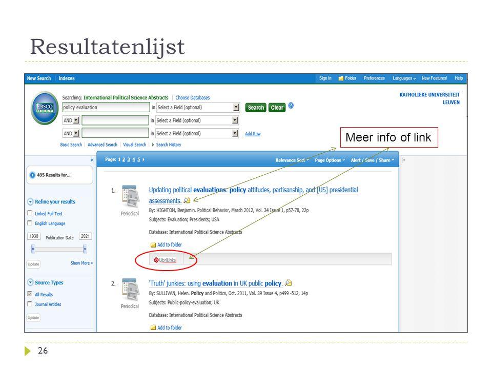 Resultatenlijst 26 Meer info of link