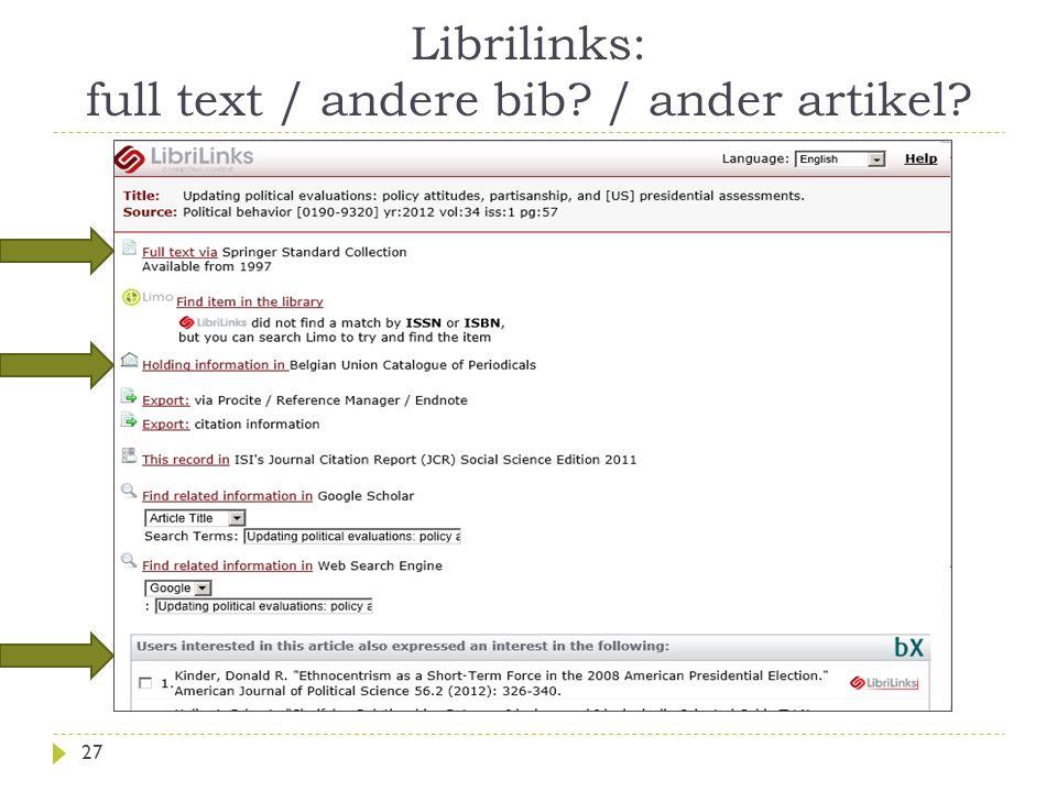 Librilinks: full text / andere bib / ander artikel 27