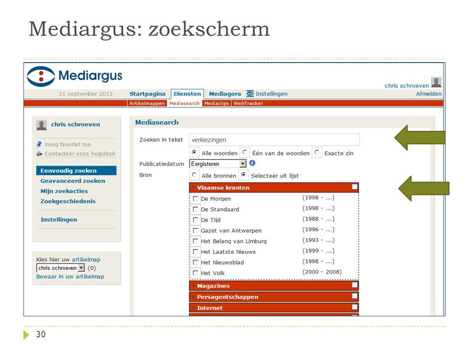 Mediargus: zoekscherm 30