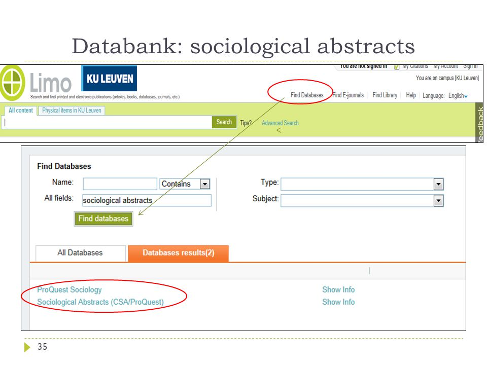 Databank: sociological abstracts 35