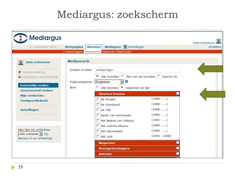 Mediargus: zoekscherm 39