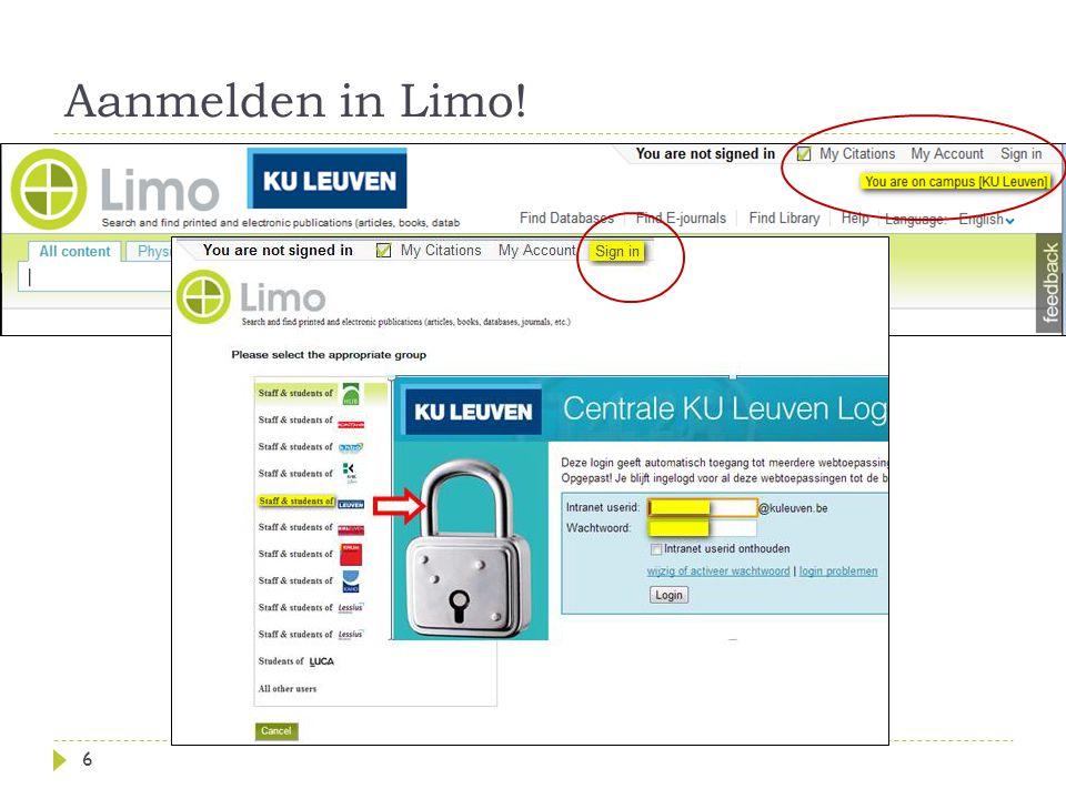 Aanmelden in Limo! 6