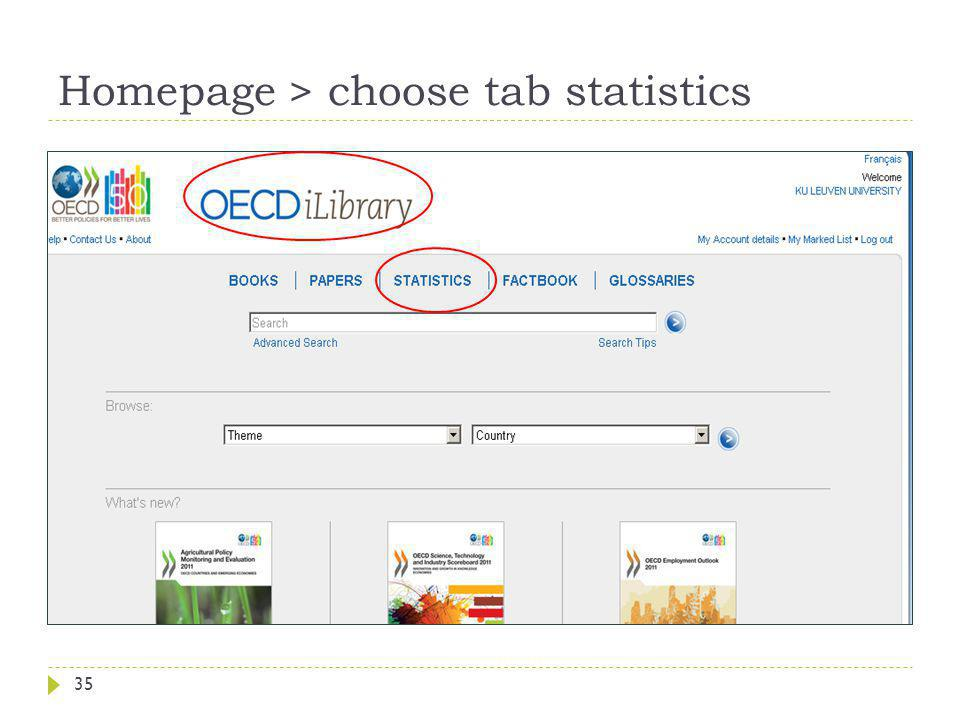 Homepage > choose tab statistics 35