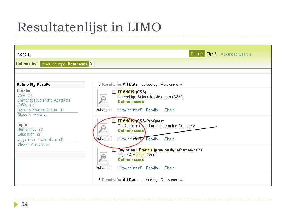 Resultatenlijst in LIMO 26