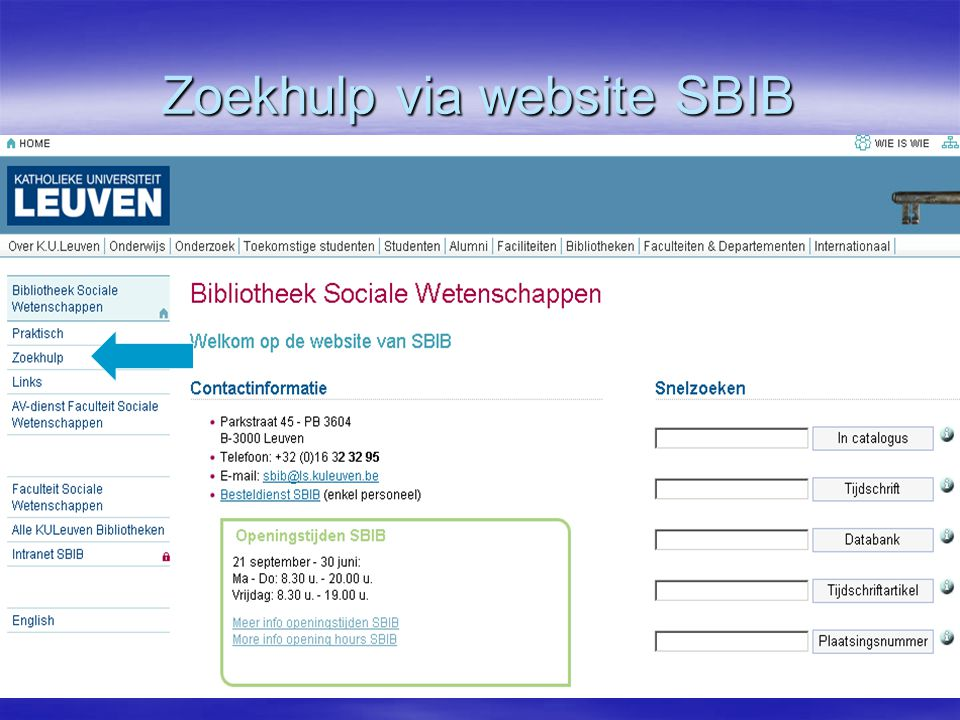 Zoekhulp via website SBIB