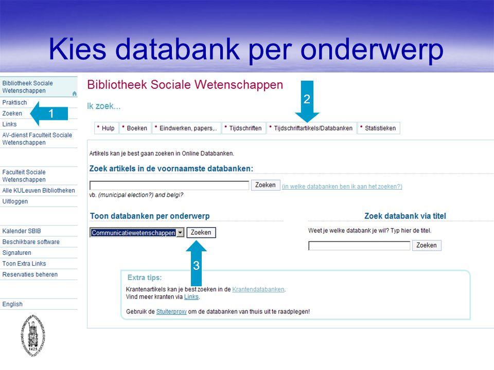 Kies databank per onderwerp 1 2 3